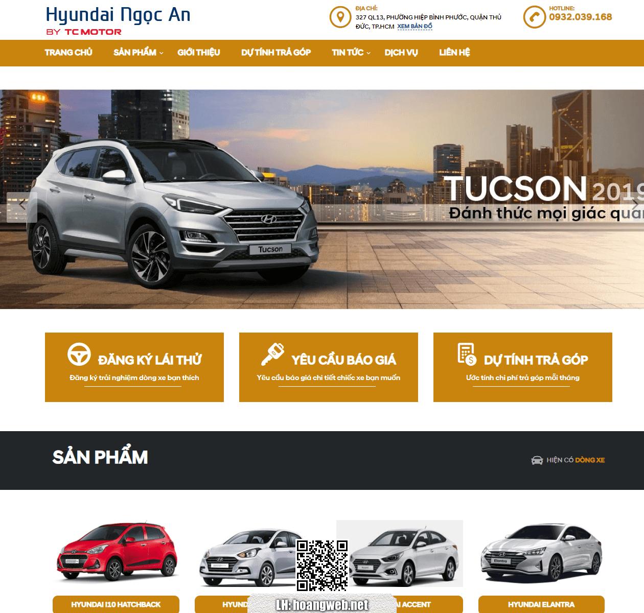 Mẫu web bán ôtô hyundai thumbnail